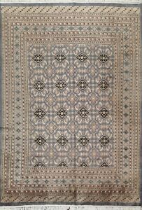 Vintage Geometric Gray Bokhara Oriental Area Rug Hand-knotted Wool Carpet 6x9 ft