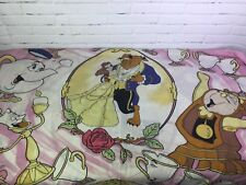Vintage Disney Beauty And The Beast Flat Twin Bed Sheet Fabric Craft Material