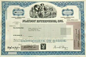 Playboy stock certificate > bunny logo Hugh Hefner as magazine Editor in Chief