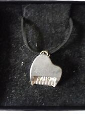 """Piano TG2 English Pewter On 18"""" Black Cord Necklace"""