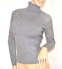 MAGLIETTA GRIGIO donna collo alto manica lunga maglia sottogiacca ricamata F100