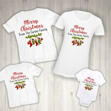 Personalised Merry Christmas Family T-shirts - Matching Tshirt Surname Bodysuit