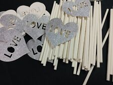 50 PCS Silver Cupcake Toppers Wedding Cake Decorations Love Laser Cut - by Giuff