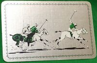 Playing Cards 1 Single Card Old Vintage POLO GAME HORSES PLAYERS Art Picture 1