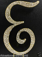 "GOLD Plated Rhinestone  Monogram Letter ""E""  Wedding Cake Topper  5"" inch high"