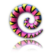 0G 8Mm Spiral Plugs Rave Colors Pair Of Hand Painted Wood Spirals