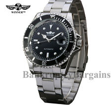 WINNER™ BLACK FACE WATCH STAINLESS STEEL AUTOMATIC SAILOR CLONE,DIVER,SUBMARINER