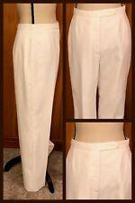 1970s PANTS Linen Dressy AUSTIN HILL Straight IVORY WHITE Zips MOD Vintage SZ 14