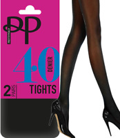 Pretty Polly Opaque Tights 40 Denier Opaques 2 Pair Pack Black or Navy BNIB