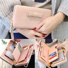 Women Long Card Bow Lady Wallet Large Capacity Purse Cellphone Pocket Zip Bag