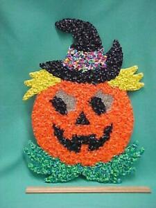 Vintage Halloween Melted Plastic Popcorn Pumpkin Jack-O-Lantern Hanging Decor