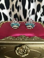 Betsey Johnson Princess Charming Embellished Crown Crystal Stud Earrings