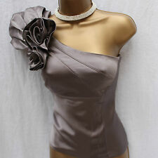 KAREN MILLEN SILVER ONE SHOULDER CORSAGE SILK COCKTAIL PARTY TOP BLOUSE 8 UK