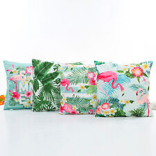 Kissenbezug Satin Optik Flamingo Summer Vogel Palmen 45x45cm mit Reißverschluss