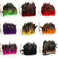 1/5/10 Yards Rooster Feather Fascinator Hackle Hen Fringe Trim Crafts 4-6inchs