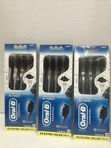 Oral-B Charcoal 4X Extra Value Pack (soft) New 3pack