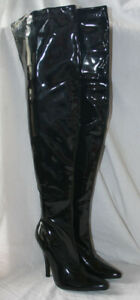 LADIES 5.5 INCH THIGH HIGH BLACK PATENT BOOT / INSIDE ZIP SIZES UK 4, 5, 7 & 8