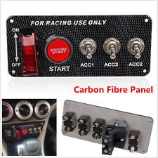 Carbon Fibre Ignition Lite Racing Car Engine Start Push LED Button Toggle Panel