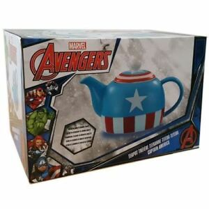 Marvel Comics The Avengers Captain America Shield Teapot Ceramic Coffee Tea 36oz