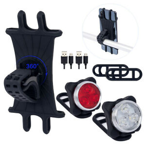2 Pieces USB Rechargeable Bicycle Light Front Back Bike Lights and 360 Rotation