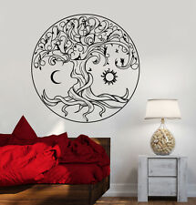 Vinyl Wall Decal Celtic Tree Of Life Symbol Fairies Sun Moon Stickers (1359ig)