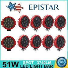 Slim 7inch 51W Spot LED Light Off-road Round Work Roof Lamp Truck 4WD 5 Pairs