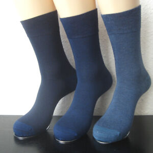 Women's Socks Without Rubber Soft Rim Bamboo - Melange 3 Blue Tones 35 To 42