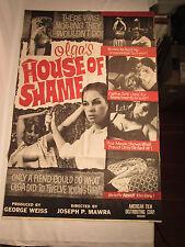 Original Vintage 1964 Olgas House Of Shame Full Size Movie Poster S&M Adult Film
