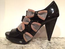 Daniblack Pumps High Heels Patent Leather Mary Janes Bow Open Toe Black 6.5 M