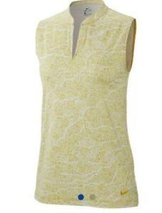 Nike Women's Dri-Fit UV Sleeveless Printed Golf Polo White/Gold/Yellow Size Lrg.