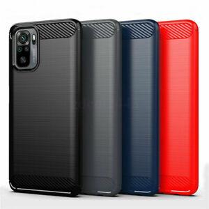 For Xiaomi Redmi Note 10 / 10 Pro Max Carbon Fiber Soft TPU Rugged Case Cover AU