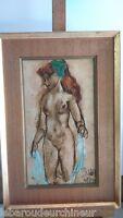 Peinture femme nue - painting nude woman signée