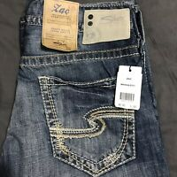 Silver Mens 30x32 Zac Jeans Relaxed Fit Straight Leg New Thick Stitching