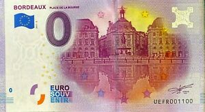 BILLET 0  EURO BORDEAUX PLACE DE LA BOURSE  FRANCE 2017 NUMERO 1100