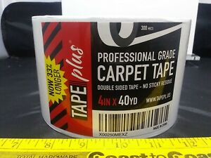 """Tape Plus Professional Grade Double Sided Carpet Tape 4"""" Inch x 40 Yd White"""