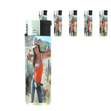 Texas Pin Up Girl D5 Lighters Set of 5 Electronic Refillable Butane