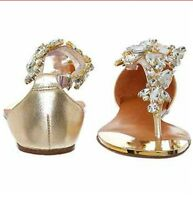 "NEW ""MODA IN PELLE "" GOLD TONE EMBELLISHED SANDALS  SIZE  3UK"