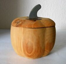 "PIER 1 Wood Apple Shaped Lidded Box w/Metal Leaves 5"" Tall China"