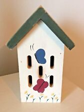 Butterfly House Whitewashed Rustic Weathered Wood hand painted