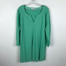 Boden Blouse Size 16 Green Tunic V Neck 3/4 Sleeve Side Vents Cotton Womens Top