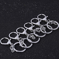 5pcs Polished Silver Keyring DIY Keychain Short Chain Split Ring Key Rings30m_UK