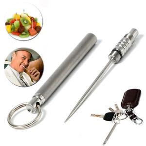 Titanium Toothpick Keychain Portable Camping Travel Self Defense EDC Pinic Tool