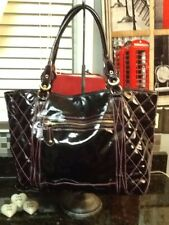 CAVALCANTI HOT PINK and Black PATENT LEATHER LARGE SHOPPER TOTE BAG