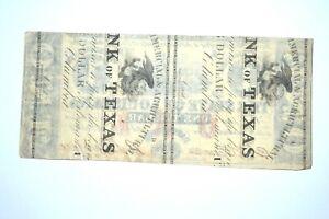 Original 1862 Confederate $1 Bill Note Overprint Louisiana over Texas Paper NICE