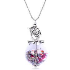 Vintage Retro Style Silver Fish Charm Dried Flowers Round Bottle Necklace N522