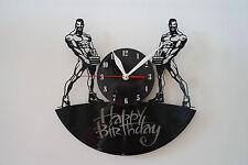 Buon Compleanno Design Vinile Record Orologio da parete [Nero Lucido Adesivo] Home Art