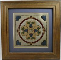 Vintage Folk Art Punched Tin Panel - Hand Painted Framed Art