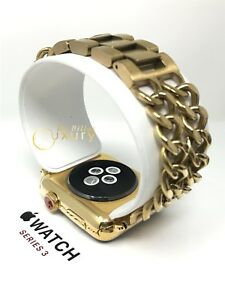 24K Gold Plated 42MM Apple Watch SERIES 3 with Gold Links Band Custom