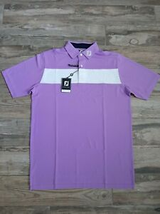 NEW FootJoy Mens Stretch Pique Solid Golf Polo Large Lavender/White 25549