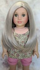 Custom American Girl Doll McKenna Brooks Smoked Blonde Gray Wig Hazel Green Eyes